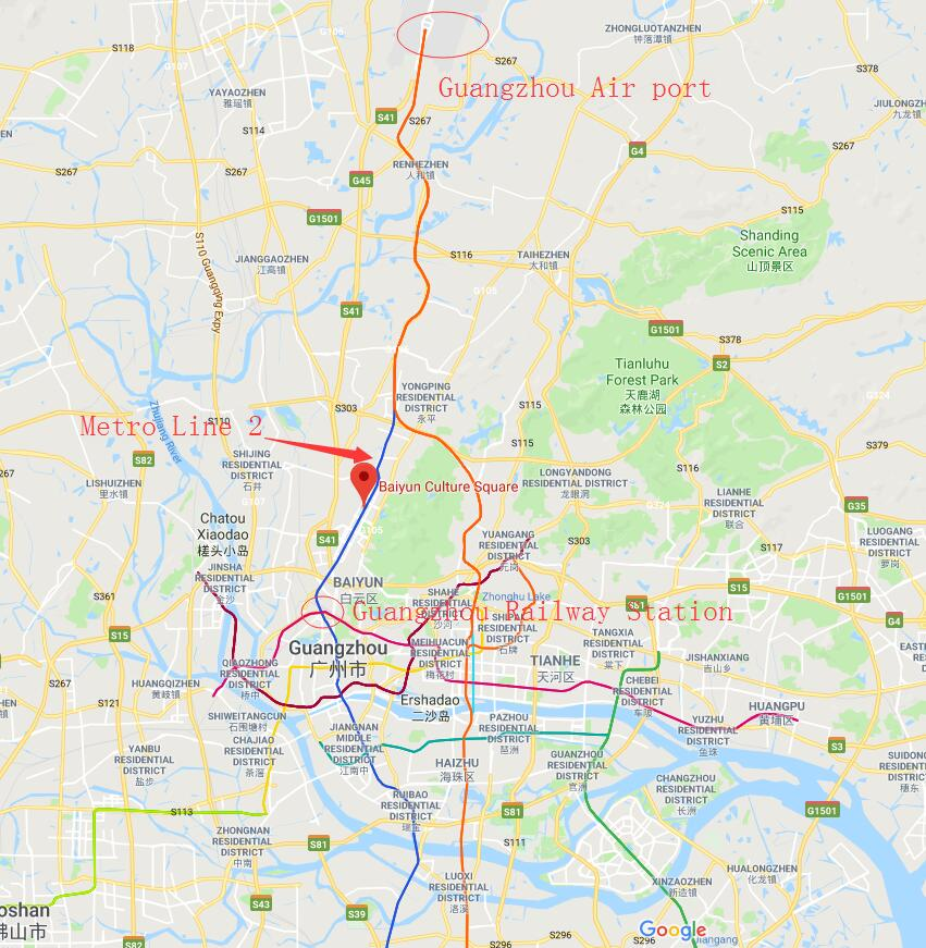 take metro line 2 to baiyun culture square to arrive at plastic-to-china